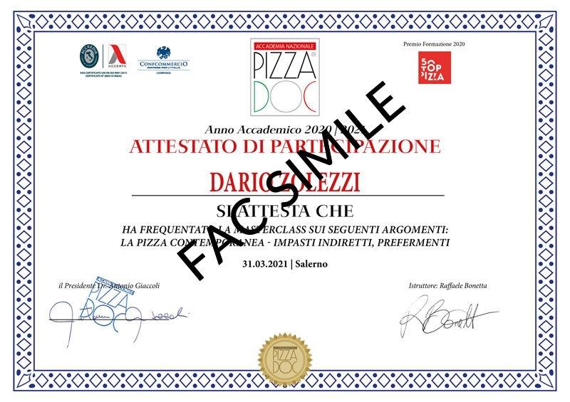 Attestato - Pizza Contemporanea Raffaele Bonetta - Accademia Nazionale Pizza DOC