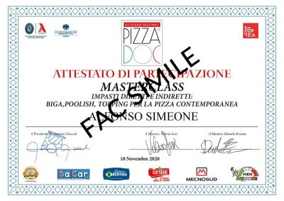Attestato - pizza contemporanea - Accademia Nazionale Pizza DOC